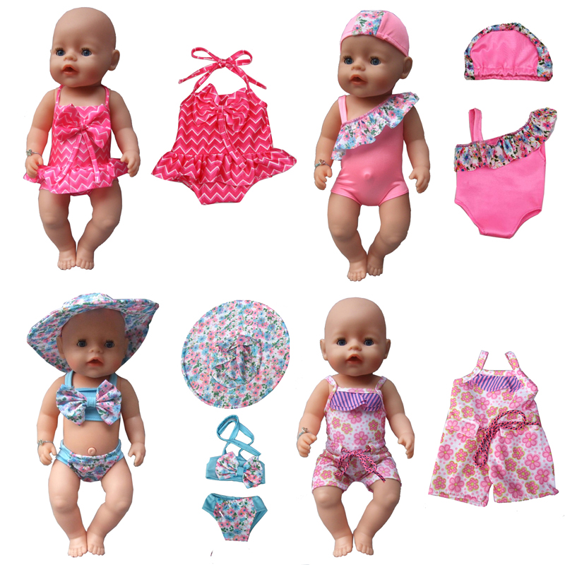 Summer set For 18 American Girl Doll Bikini + Cap summer Swimming Suit With Hat also fit for 43cm Baby born zapf doll Clothes rose christmas gift 18 inch american girl doll swim clothes dress also fit for 43cm baby born zapf dolls
