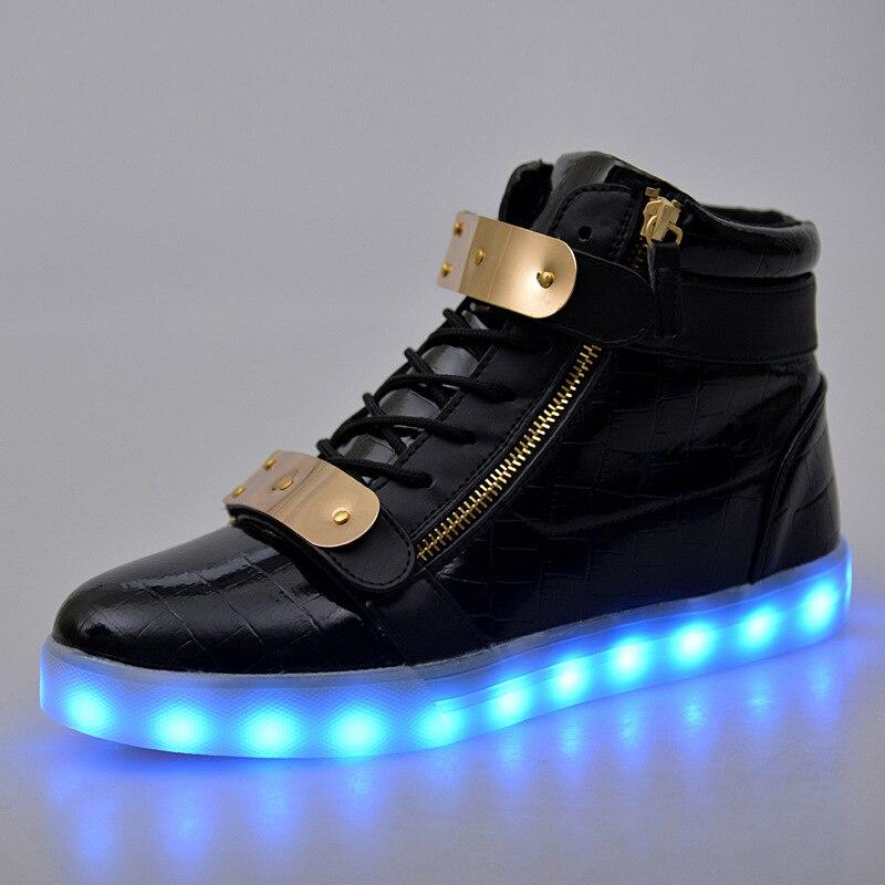 2017 Fashion Men Led Shoes Black Platform Light Up