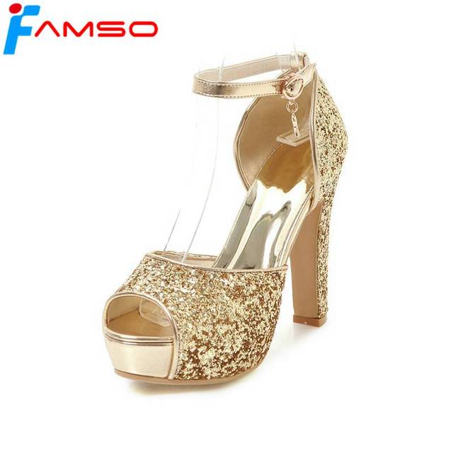 5f76545037 FAMSO Size34-43 2019 New Women Sandals Black red Gold Silver Peep toe  Platforms Pumps Designer Party Glitter Sexy Sandals
