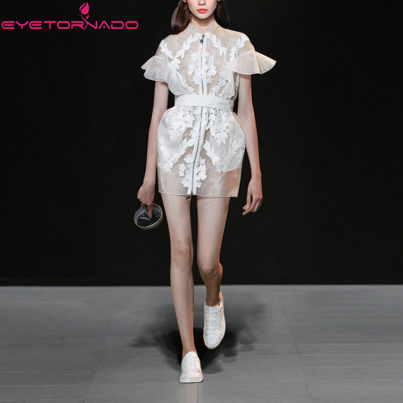 Ruffled sleeve lace embroidery organza dress summer see through sexy party ball tunic white casual work club women mini dresses white casual round neck ruffled dress