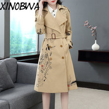 Women Winter High Fashion Turn Down Collar Double Breasted Printed100%Cotton Trench