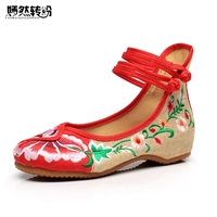 New Arrive Old Peking Cloth Embroidery Shoes Chinese Flats Mary Janes Casual Walking Dance Women Soft