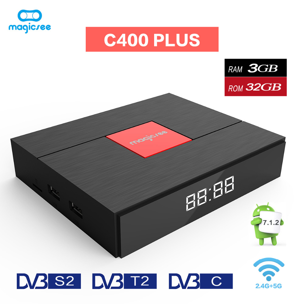 <font><b>DVB</b></font> S2 <font><b>T2</b></font> C TV Box <font><b>Android</b></font> 7.1 TV Box Amlogic S912 <font><b>Octa</b></font> Core 3 GB 32 GB Dual Band Wifi PVR Aufnahme DTV Kanäle C400 Plus TVbox image