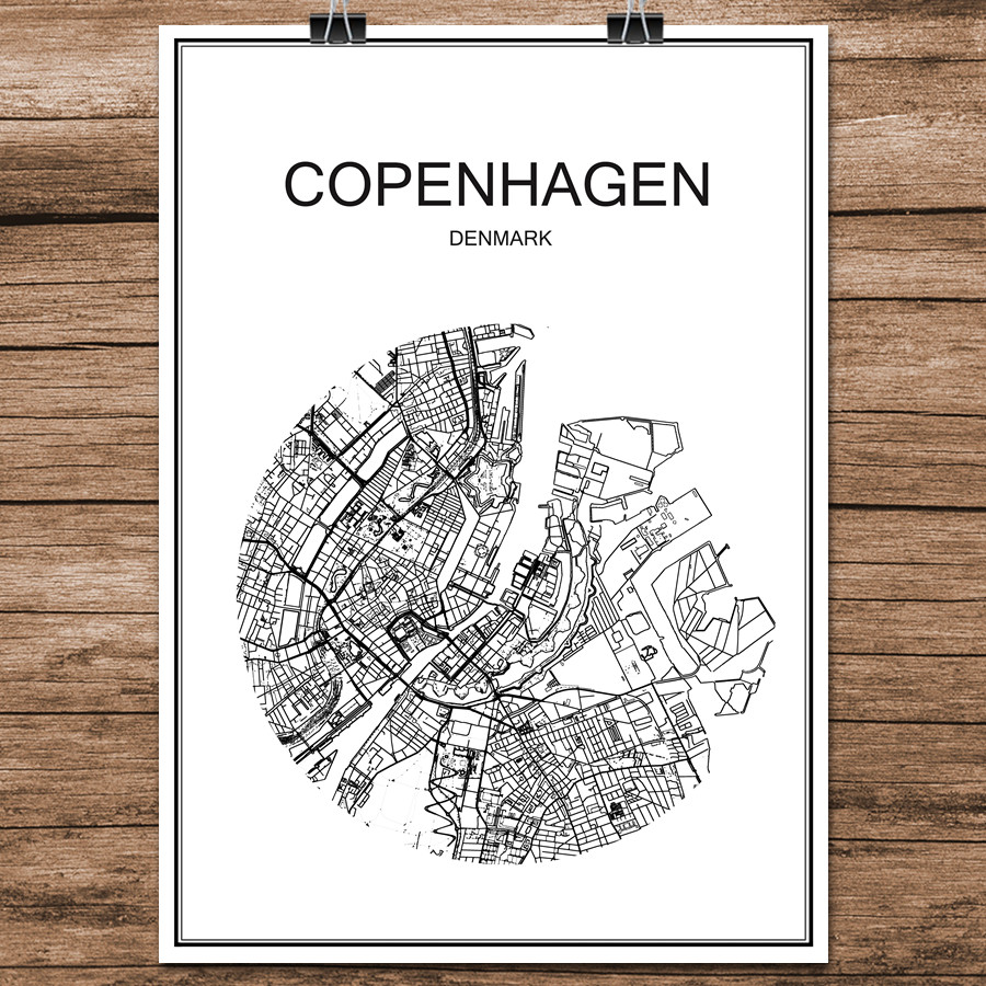 Copenhagen Denmark Famous World City Street Map Print Poster Abstract  Coated Paper Cafe Living Room Home