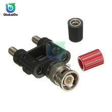 BNC Male Plug Connector To Two Dual 4mm Banana Plug Socket Binding Coaxial Adapter Connector Multimeter Converter Accessories(China)