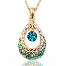 Women's Fashion Rhinestone Crystal Vintage Angel Teardrop Female Hollow Necklace Pendant Chain 4ND184(China)