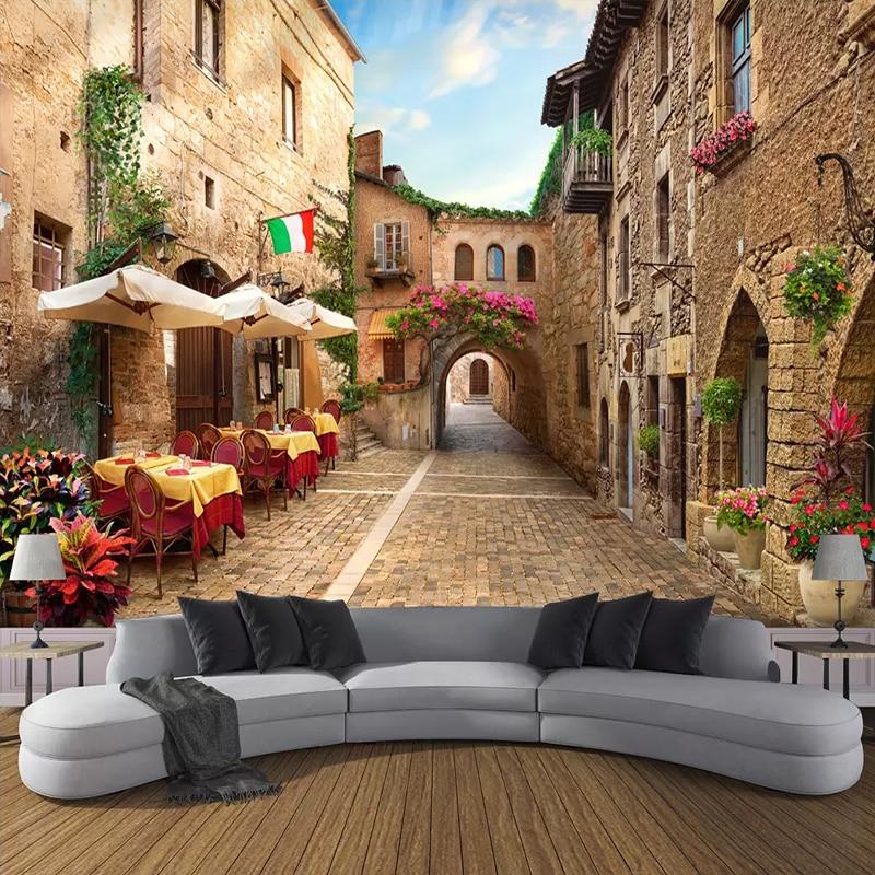 Custom Photo Wall Paper Wall Painting 3D European Street View Living Room Bedroom Non-woven Wallpaper Mural Papel De Parede 3D