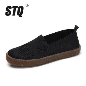 Image 2 - STQ 2020 automne femmes baskets chaussures femmes respirant maille plat baskets chaussures ballerines dames sans lacet mocassins chaussures 3399