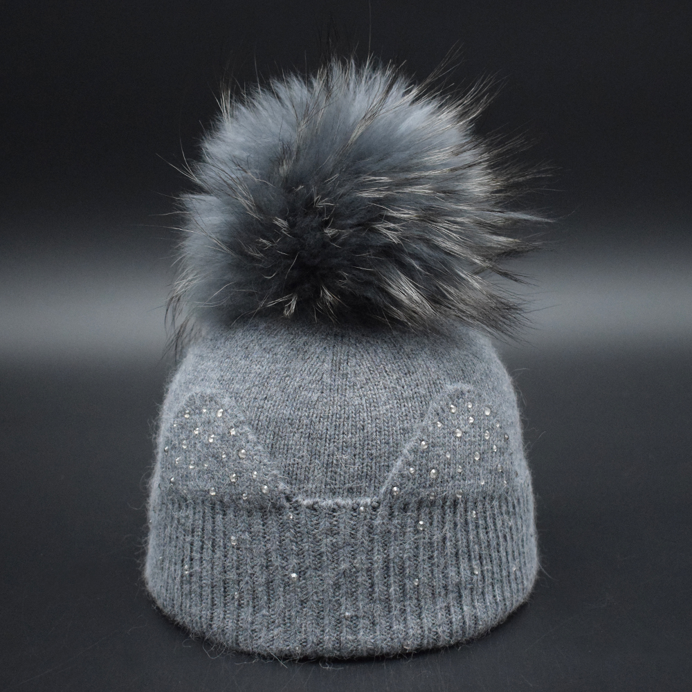Brand new winter children girls hat with Real raccoon fur pompom Top quality comfortable Baby wool hat for girls Fur ball caps new autumn winter warm children fur hat women parent child real raccoon hat with two tails mongolia fur hat cute round hat cap
