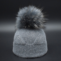 Brand New Winter Children Girls Hat With Real Raccoon Fur Pompom Top Quality Comfortable Baby Wool