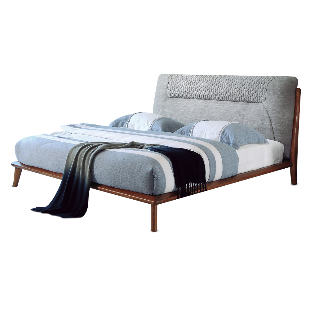 1212H209 Modern Simple Asho solid wood with stable ranked skeleton soft bed-rest large Original Nordic style bed frame