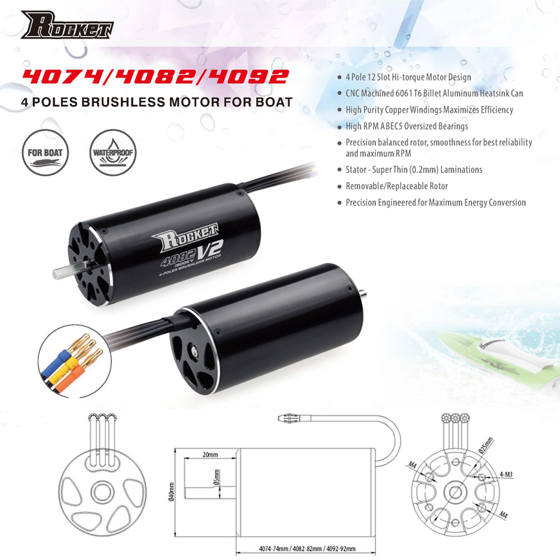 Image 2 - SURPASSHOBBY Rocket 4092 1520KV 1250KV 4P Brushless Motor for Traxxas M41 Catamaran Spartan 1000mm(or Above) RC Boat Car-in Parts & Accessories from Toys & Hobbies