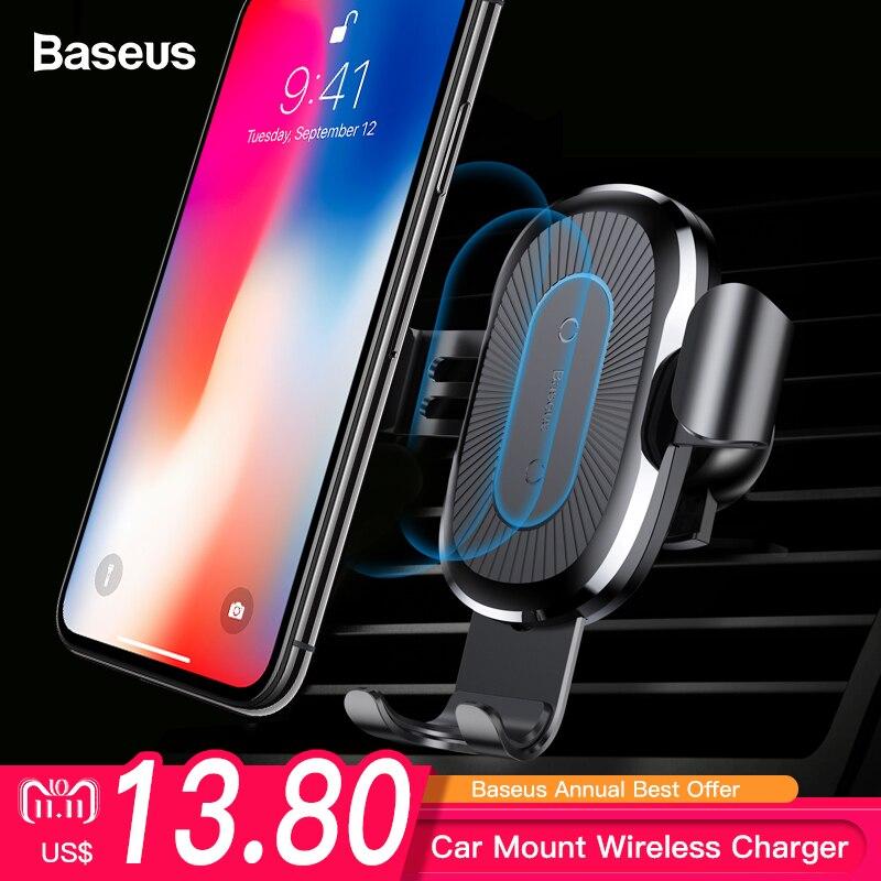 Baseus coche cargador inalámbrico Qi para iPhone XS Max X XR 8 rápido de carga inalámbrica sostenedor del teléfono del coche para Samsung Nota 9 S9 S8