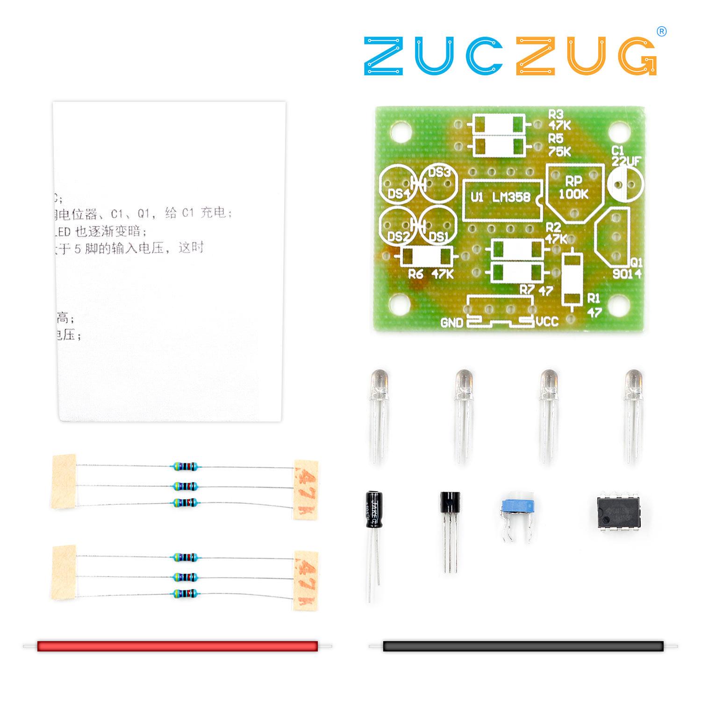 LM358 LED Breathing Light Kit Electronic Production Suite Electronic Kits DIY Parts Breath Light DIY Kit Blue Flashing Lamp