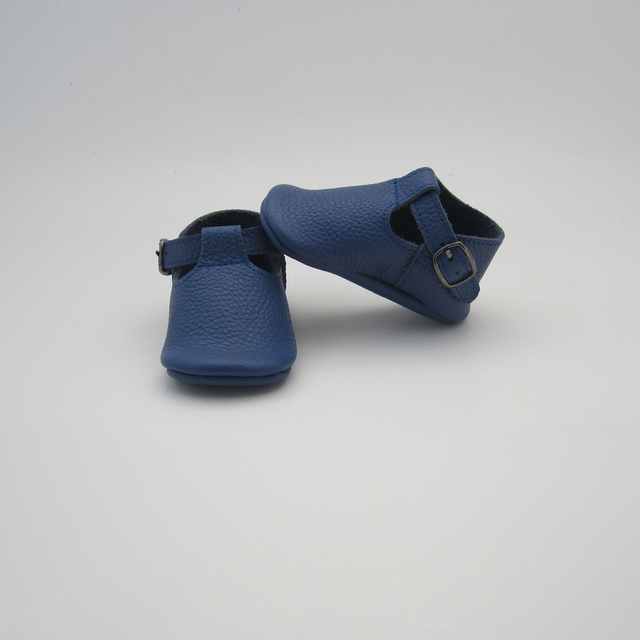 Handmake Leather 'T-Bar Style' Pre-Walker Baby Shoes - navy blue