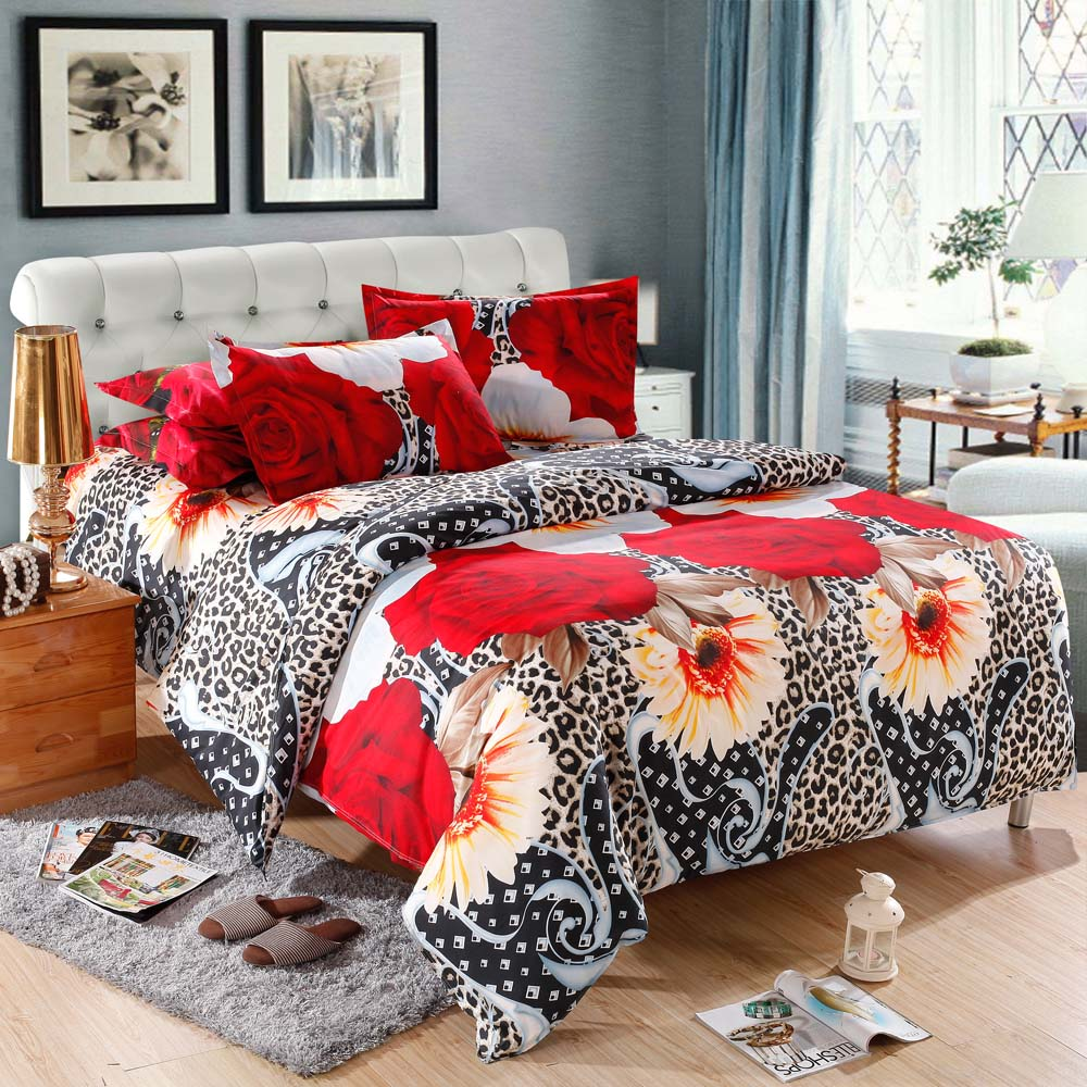 Leopard print and red bedding - 4pcs Queen Size 3d Printed Bedding Set Bedclothes Home Textiles Leopard Flower Pattern Quilt Cover