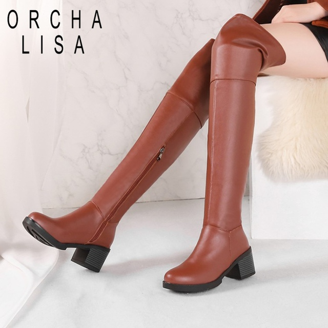 7270bea793b ORCHA LISA Size 33-44 Women Over The Knee Boots Zipper High Heel Boots Long  Boots Thick Heel Knight female Botas Mujer C829