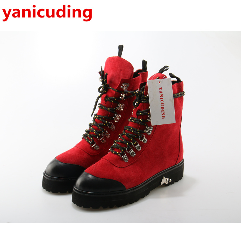 yanicuding Round Toe Lace Up Metal Embellish Women Booties Casual Shoes Fashion Super Star Runway Lady Ankle Boots Three Color ankle shoes autumn booties 2017 strange front lace up casual boots chunky round toe fetish platform white ladies chinese fashion