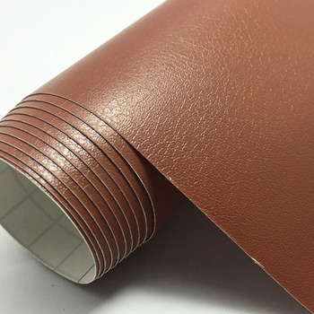 Brown Leather Grain Texture Vinyl Car Wrap Sticker Decal Film Sheet Adhesive Sticker Interior Car Styling Covering Wrapping image