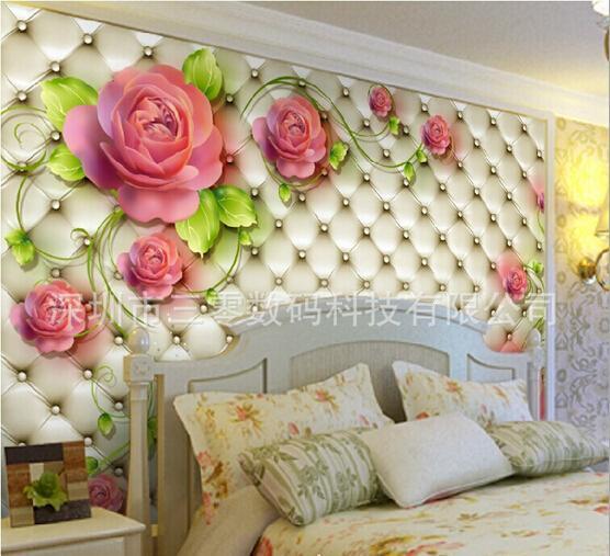 1 quadrados ikea moda photo mural n o tecido papel de parede fresco rosa sal o - Papel decorativo ikea ...