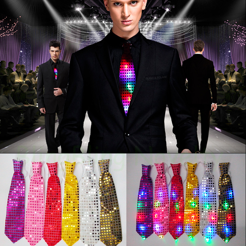 10pcs Party Favor LED Tie Multicolor Sequins Flashing Necktie Glow in the Dark for party night clubs