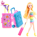 UCanaan 2 PC Plastic Travel Box for Barbie Doll Educational Classic Toy DIY Children Kids Baby Pretend Play Furniture Toys