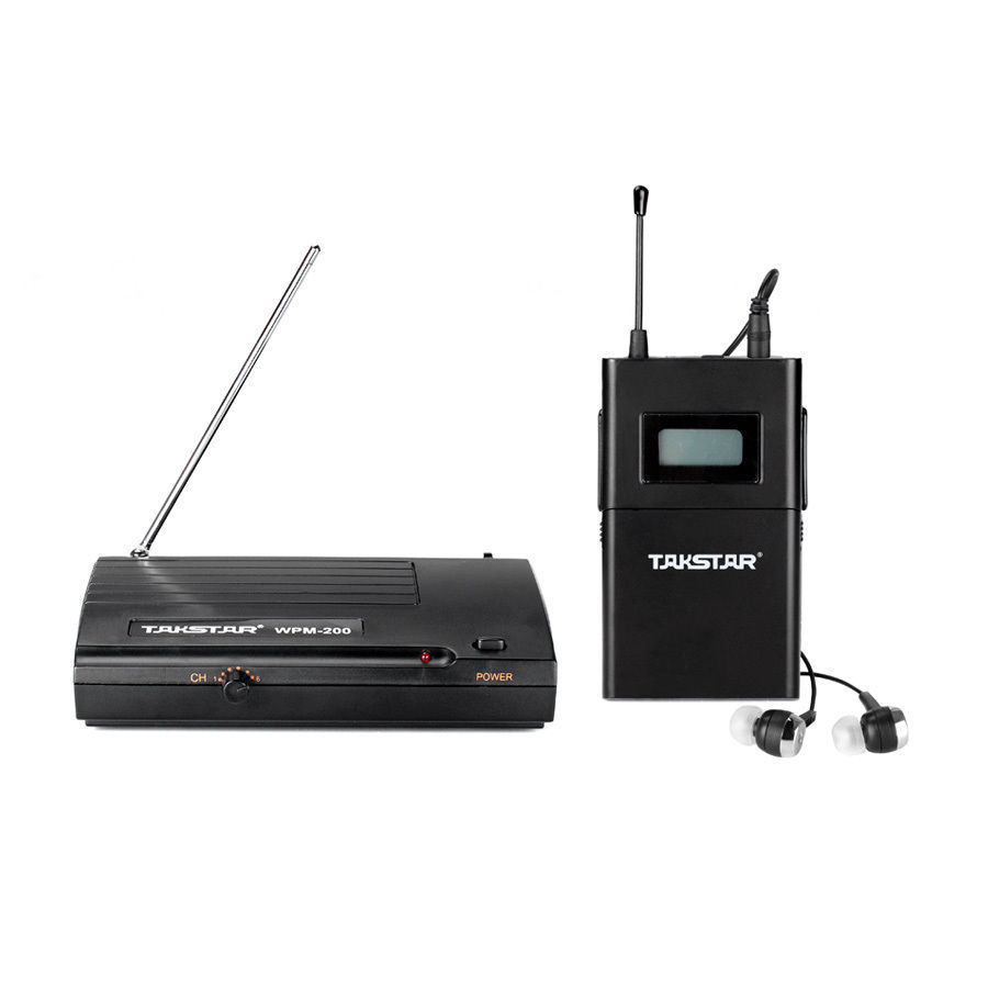 Takstar WPM-200 Personal Wireless Monitor System UHF In-Ear Stereo Wireless Headphones LED Receiver Stage feedback Monitoring ukingmei uk 2050 wireless in ear monitor system sr 2050 iem personal in ear stage monitoring 2 transmitter 2 receivers