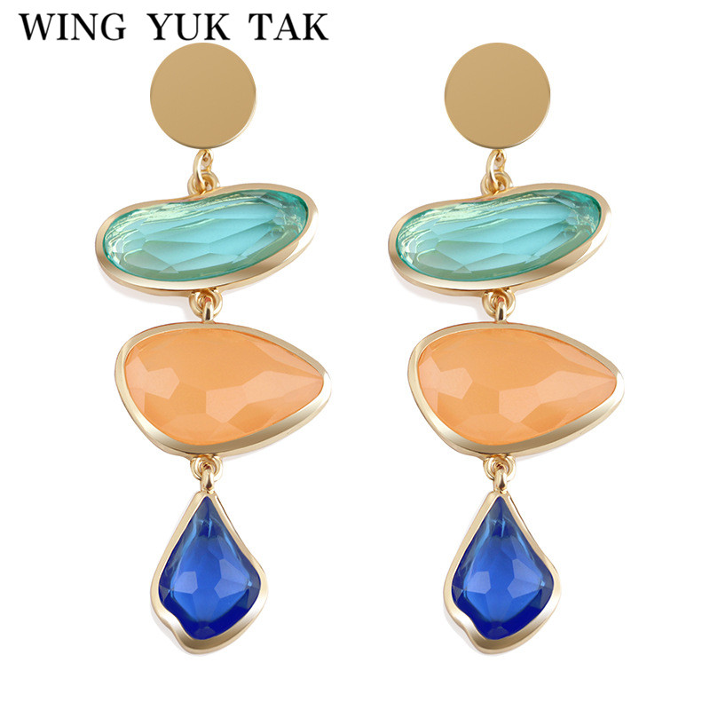 wing yuk tak New Fashion Statement Bijoux 2 Color Romantic Acrylic Irregular Abstract Drop Earrings For Women Wedding Jewelry