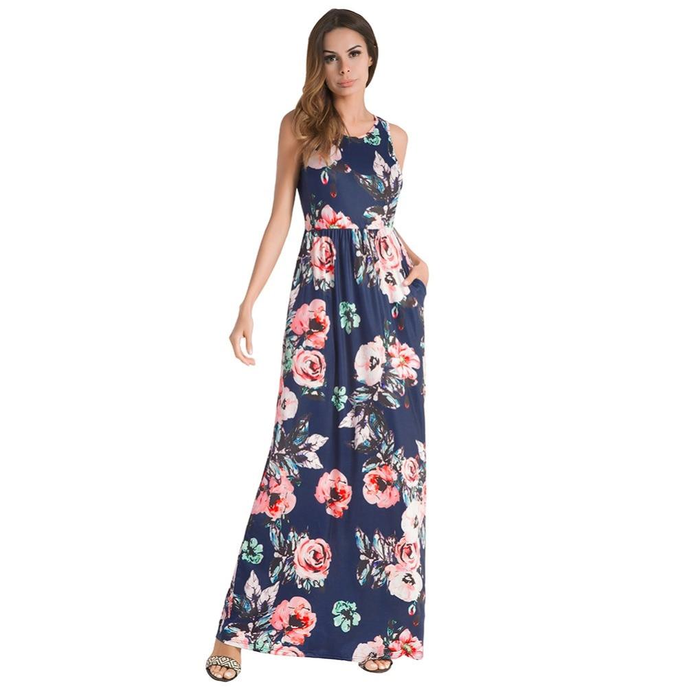 Printemps/été 2018 nouvelle robe sans manches robe vintage imprimé floral robe avec ceinture