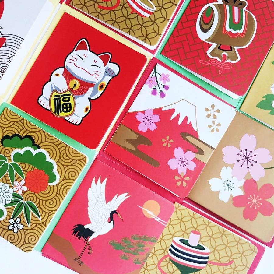 Bekomme Eins Gratis 96 Teil/los Chinesischen Und Japanischen Elements Neue Jahr Grußkarten Grußkarte Set/urlaub Karte/business Nachricht Karte Kaufe Eins Office & School Supplies