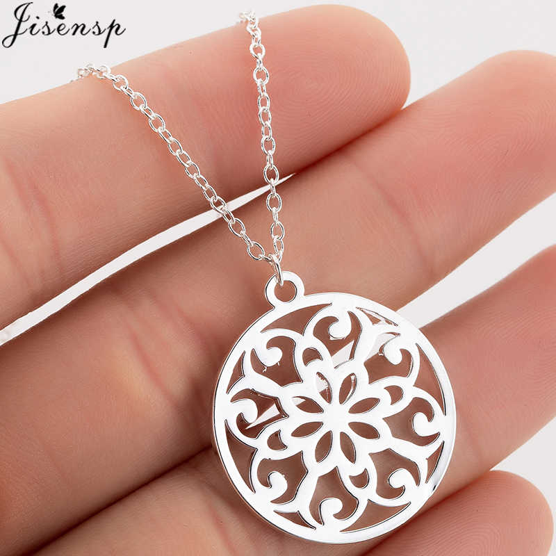 Jisensp Vintage Stainless Steel Mandala Necklace for Women Charm Choker Necklaces Chain Religious Jewelry Accesorios Mujer