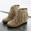 Fashion Tassel Rivets women boots concise ankle boots Cross-tied Casual winter boots Round Toe Height Increasing martin boots