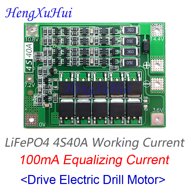 4S40A <font><b>LiFePO4</b></font> Battery Protection Board Drive Drill Motor 12.8V 14.4V PCB Board (Balance Equalized Charging Optional) image