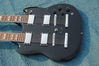 2018 wholesale popular factory custom double neck black 12 strings 6 strings electric guitar with black pickguard