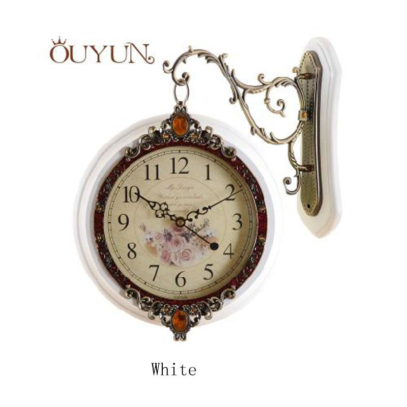 OUYUN Contemporary Craft Large Round Wall Clocks Home Decor Vintage Modern Classic Antique Wooden Wall Clock Double Faced