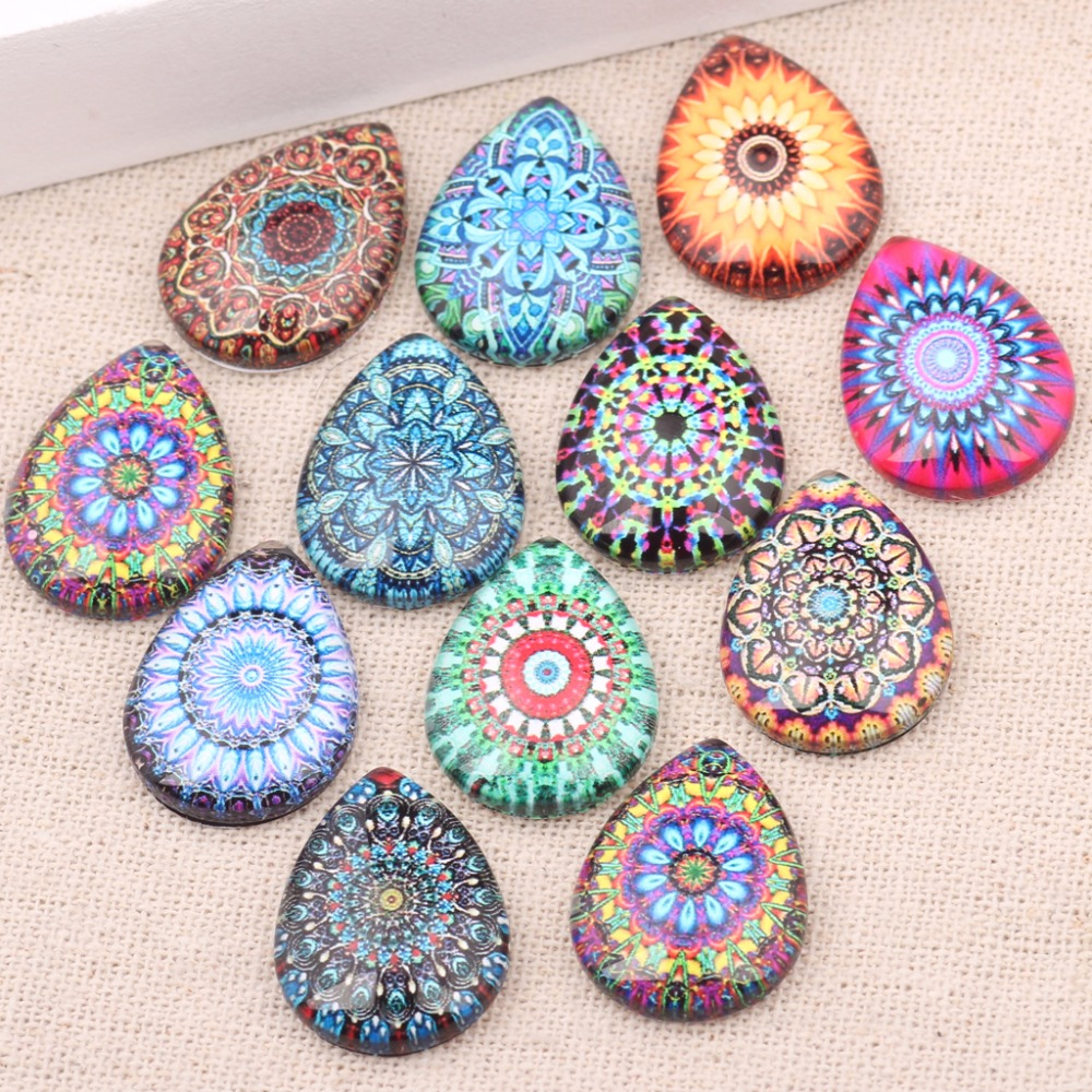 onwear 20pcs 18x25mm drop glass cabochon diy mixed handmade image print flatback jewelry findings for scrapbooking mixed print dip hem top