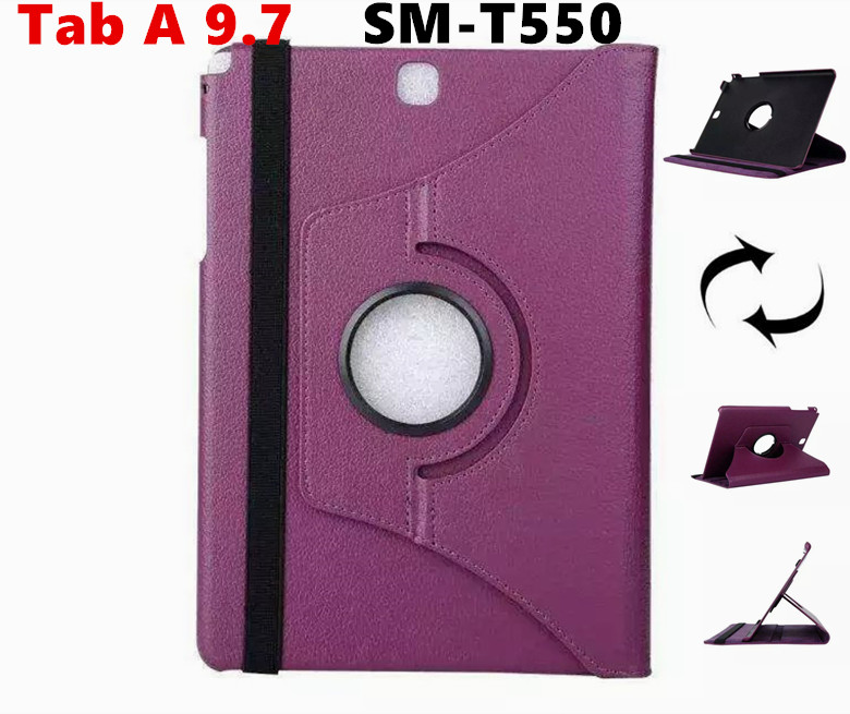For Galaxy Tab A 9.7 360 rotating PU Leather Case Flip Cover For Samsung Galaxy Tab A 9.7 T550 T555 Tablet Case luxury flip stand case for samsung galaxy tab 3 10 1 p5200 p5210 p5220 tablet 10 1 inch pu leather protective cover for tab3