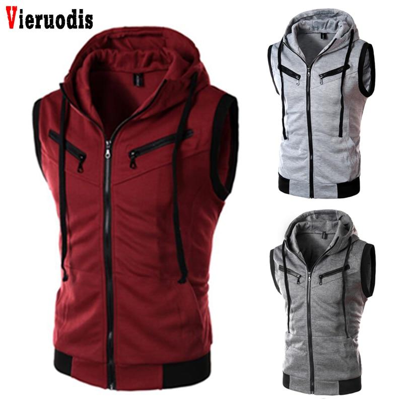 Men Vest Plus Size XXXL Male Sleeveless Jacket Zipper Pocket Gilet Casual Cotton Men Fashion Brand Solid Color Hooded Waistcoat