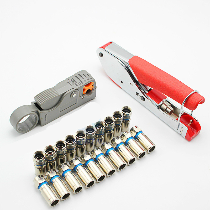 Coaxial Cable Wire Stripper RG6/RG59 Compression F Connector Tool Crimping Pliers Wire Stripping Pliers Kit