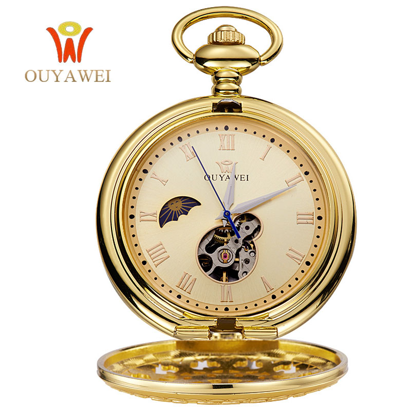 OUYAWEI Pocket Gold Mechanical Watch Men Vintage Pendant Watch Necklace Chain Antique Fob Watches Relogio bolso vintage bronze quartz pocket watch glass bottle antique fob watches classic men women necklace pendant clock with chain gifts
