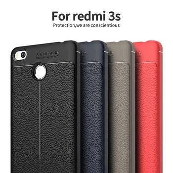 70b7ca96703 Funda en Xiomi Redmi 3 s Pro de lujo suave a prueba de golpes de cuero de  grano TPU funda trasera para Coque Xiaomi Redmi3s 3 S primer 5,0