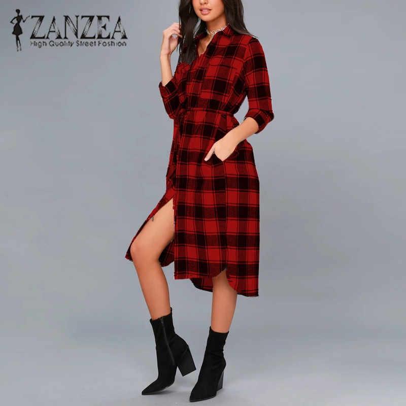 7246d0f0 2018 ZANZEA Elegant Women Lapel Neck Buttons Down Autumn Plaid Pockets Long  Shirt Dress Casual Split