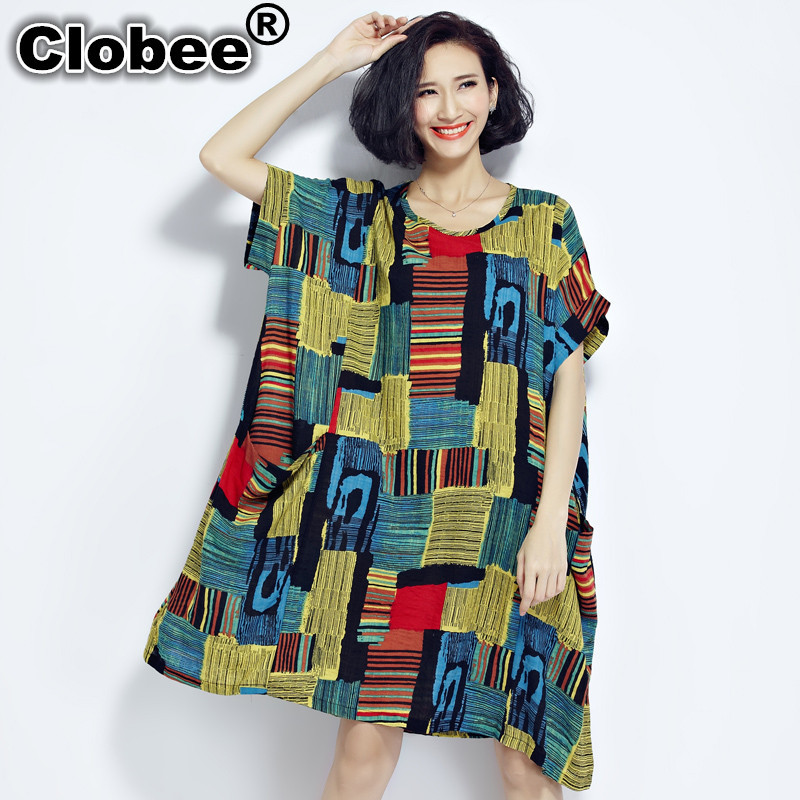 US $15.25 50% OFF|Clobee 2019 Plus Size Dresses boho Summer Cotton and  Linen Plaid Dress Clothes for Pregnant Women kimono dresses large sizes-in  ...