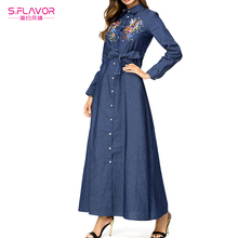 c849d1428352 S.FLAVOR Winter Dresses Women Embroidery High Waist Maxi Long Dress Casual Long  Sleeve Denim