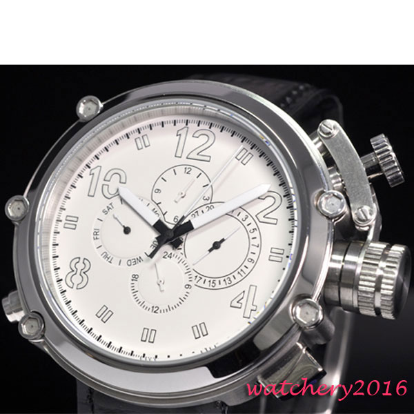 лучшая цена 50mm parnis White Dial Big Face solid 316L stainless steel case week day date multifunctional automatic men's Watch