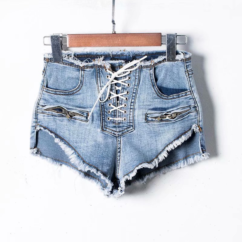NORMOV Summer High Waist Denim   Shorts   Women New Fashion Zipper Sexy   Shorts   Female White Front Lace-Up Korean Washed   Short   Jeans