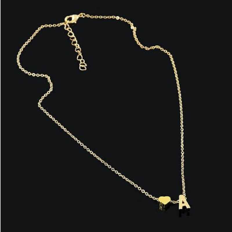 Moda tiny dainty coração inicial colar personalizado carta colar nome jóias para acessórios femininos transporte da gota