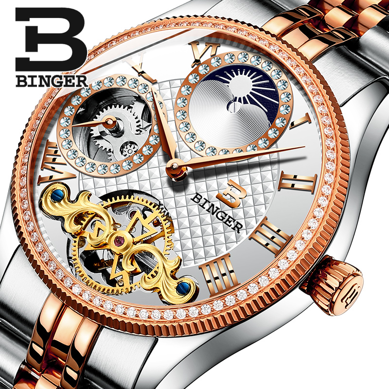 2017 New Mechanical Men Watches Binger Role Luxury Brand Skeleton Wrist Waterproof Watch sapphire Male reloj hombre B1175-10 new binger mens watches brand luxury automatic mechanical men watch sapphire wrist watch male sports reloj hombre b 5080m 1