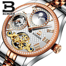 2017 New Mechanical Men Watches Binger Role Luxury Brand Skeleton Wrist Waterproof Watch sapphire Male reloj hombre B1175-10