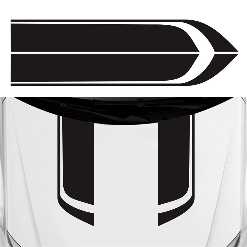 2pcs Car Stripes Racing Sports Style Truck Vinyl Hood Decals Stickers Washable
